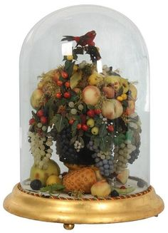 Large Victorian Wax Fruit Dome Display