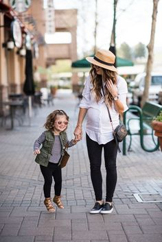 Two Looks in the Comfiest Sneakers | mommy and me outfit ideas | mommy and me fashion | mommy and me style | fashion for mom and daughter | spring style | spring fashion | spring outfit ideas | maternity fashion | maternity to style | warm weather fashion || The Girl in the Yellow Dress