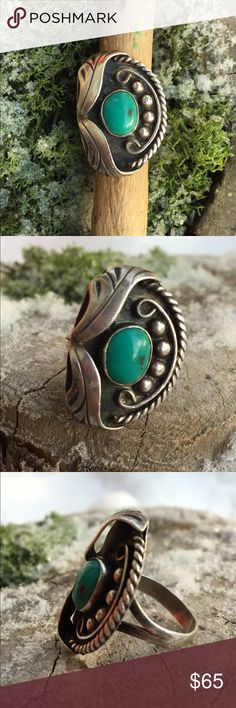 Vintage turquoise ring with leaf designs Lovely detailed vintage ring with turquoise stone / Hallmarked as shown / size 8 / Native American / Boho Vintage Jewelry Rings