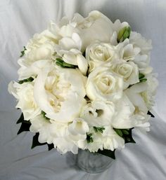 ivory peonies, roses and freesia bridal bouquet