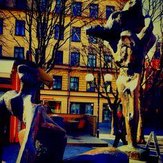 Statue in Östermalmstorg in Stockholm