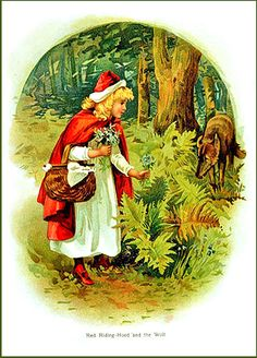 Antique #lithograph illustration of Little Red Riding Hood  Illustration