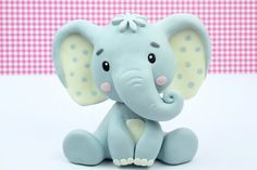 Elephant cake topper fondant or cold porcelain / elefant - Elephant Cake Toppers, Elephant Cakes, Elephant Figurines, Elephant Gifts, Fondant Figures, Fondant Cake Toppers, Fondant Baby, Fondant Cupcakes, Cupcake Toppers