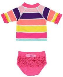 Rainbow Stripe Ruffled Rash Guard Bikini - RuffleButts.com