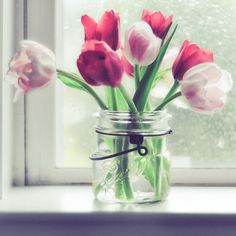 I love using canning jars as vases.