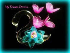 Handmade net cloth flowers for a dove flower vase Cloth Flowers, Fabric Flowers, Fabric Flower Necklace, Flower Vases, Brooch, Handmade, Jewelry, Hand Made, Jewlery