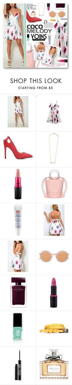 """""""Floral Dress"""" by tasnime-ben ❤ liked on Polyvore featuring MAC Cosmetics, First Aid Beauty, Linda Farrow, Narciso Rodriguez, Anja, Essence, Jin Soon, Urban Decay, Christian Dior and yoins"""