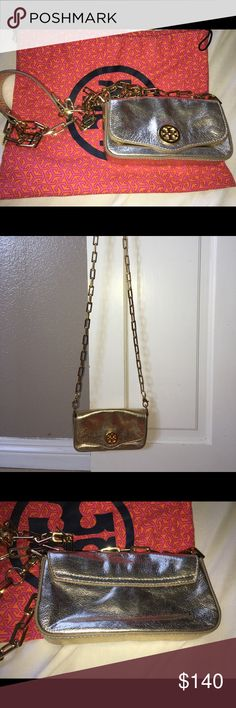 Tory Burch Gold Cross Body Bag Authentic Tory Burch leather Gold cross body bag. Comes with dust bag. In very good clean condition. Tory Burch Bags Crossbody Bags