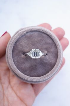 Emerald Diamond Ring with Two Trillion Shape Diamond Side Stones Emerald Cut Engagement, Diamond Engagement Rings, Emerald Diamond, Diamond Rings, Rings For Men, Wedding Rings, Photo And Video, Stones, Shape