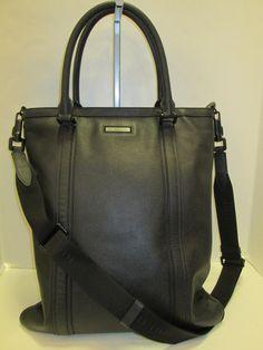 7c9949e2decc Burberry Black Leather Large Tote Messenger (SL). Burberry Handbags ...