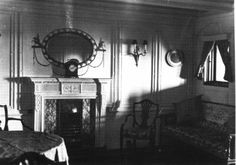 """The Cardeza Family  Suite on Titanic. starboard side of B deck, next to Funnel No. 2. The two """" Millionaire suites"""" were probably the most luxurious accommodations on any liner."""