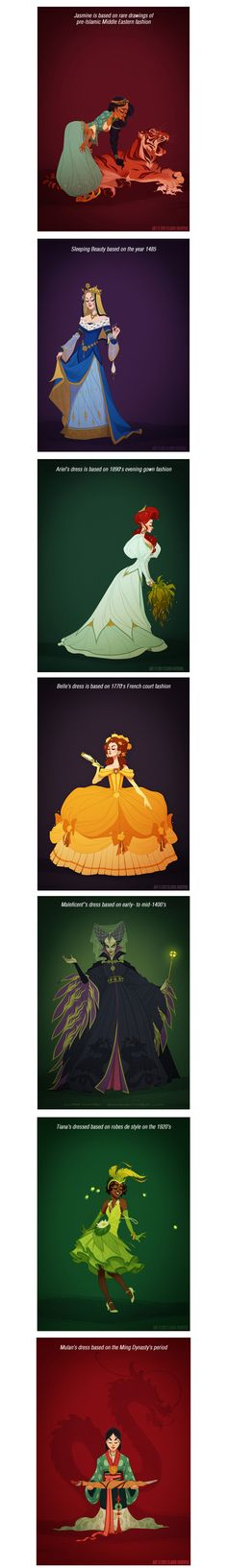 Disney princesses (and one awesome villain) in period dress.