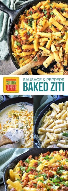 Baked Ziti with Sausage and Peppers feeds your family easily & deliciously. The whole family will love this Sunday Supper skillet recipe loaded with sausage and peppers and lots of ooey gooey cheese! This recipe is perfect for those busy back to school ni Baked Ziti With Sausage, Sausage And Peppers, Stuffed Peppers, Yummy Pasta Recipes, Pork Recipes, Sausage Recipes, Easy Recipes, Cooker Recipes, Recipies