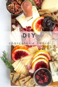 A DIY charcuterie board made with fresh fruits like pomegranate, blood oranges, butterscotch asian pears and filled in with a variety of soft and hard cheeses. Cheese Fruit, Meat And Cheese, Wine Recipes, Great Recipes, Comte Cheese, Chocolate Covered Almonds, Fruit Gifts, Appetizers, Appetizer Ideas