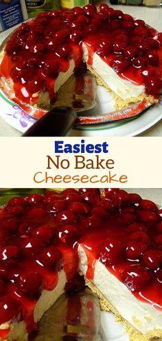 Easiest No Bake Cheesecake - Ingredients: 1 graham cracker pie crust 1 8 oz. softened cream cheese 1 tsp vanilla 1 can eagl - Cream Cheese Cheesecake, No Bake Cheesecake Filling, No Bake Cherry Cheesecake, Baked Cheesecake Recipe, Cream Cheese Recipes, Cheesecake Desserts, Dessert Recipes, Cheesecake Bites, Condensed Milk Cheesecake Recipes