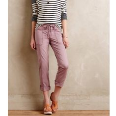 Anthropologie roll up pants! The go anywhere summer pant! Fairweather Rollup pant by Hei Hei for anthropologie in a beautiful plum prune shade! 5 pocket styling, cotton, spandex. Relaxed fit, button closure and drawstring. Button and tab to secure roll up at leg. Anthropologie Pants Ankle & Cropped