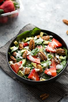 Strawberry and Avocado Spinach Salad with 3-ingredient  Candied Pecans