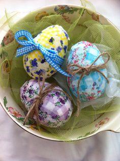 Plastic eggs turned into beautiful fabric Easter eggs.