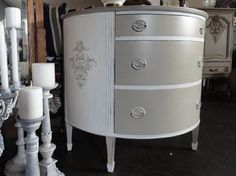 Alamo White and Cali Taupe demilune chest topped with Sheer Vax