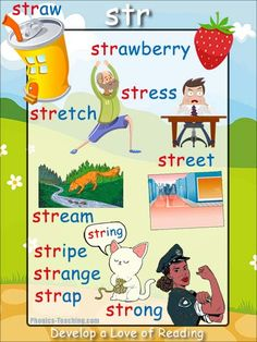 str Phonics Poster - a FREE PRINTABLE poster for auditory discrimination, sound studies, vocabulary and classroom reference.