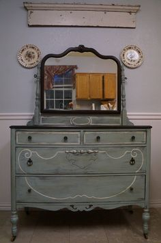 chalk paint Duck Egg with Old White antique dresser