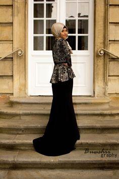 Black maxi skirt and glam peplum top | hijab muslimah fashion