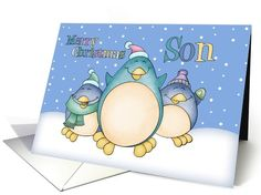 Son Christmas Card With Penguins card (1004687)