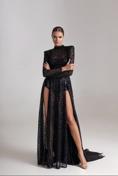 Long sequenced lace dress with two front slits, long sleeves and open back. Includes bodysuit embroidered with sparkling black paillettes and a corset. Evening Dresses, Prom Dresses, Formal Dresses, Wedding Dresses, Bridesmaid Gowns, Bridal Gowns, Elegant Dresses, Beautiful Dresses, Lace Dress With Sleeves