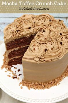 You are going to fall in love with this AMAZING homemade Mocha Toffee Crunch Cake! It's a fantastic blend of chocolate, espresso, and toffee flavors. Ultra moist and always a crowd pleaser! Baking Recipes, Snack Recipes, Dessert Recipes, Snacks, Delicious Cake Recipes, Yummy Cakes, Healthy Recipes, Food Cakes, Cupcake Cakes