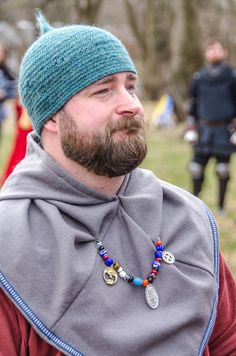 Master Phillips picture of me as Event Steward at Christmas Re-Tourney 1 Feb 2014, in my Saxon/Norse best, including my naalbound nipple hat from Emer.