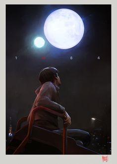 1Q84, Nacho Yagüe on ArtStation at https://www.artstation.com/artwork/rQABG  #murakami #1q84 #harukimurakami #books