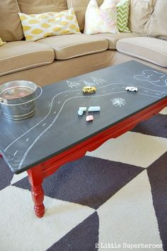 Paint a laminate coffee table with chalkboard table. Perfect for a playroom. #Furniture| http://furniture.lemoncoin.org