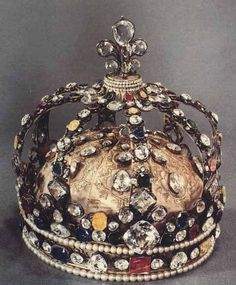 The coronation crown of Louis XV, the only survived crown that was used in coronations. All other crowns were broken during French Revolution. This crown was originally set with the Regent and Sancy Diamonds, the Sancy being the larger stone at the top of the crown in the fleur-de-lis. The Regent is in the circlet on the front of the crown. In the 19th century all diamonds and jewels of the crown were replaced by crystals.