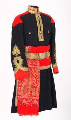 Bengal Lancer Dress Uniform -Navy Blue with Red Trim & Gold Scinde Horse Prince of Wales's Own Cavalry) British Indian, British Army, Bengal Lancer, Army Uniform, Military Uniforms, Mother India, Military Looks, 1800s Fashion, Uniform Design