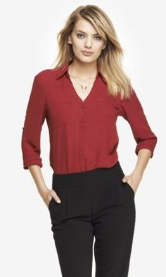 THE CONVERTIBLE SLEEVE PORTOFINO SHIRT from EXPRESS in light pink, brocade blue, calypso, cayman blue, crystal green, deep teal, mars red, plum, radiant rose, royal blue, soft ivory, title blue,