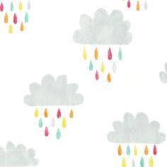 Kindertapete Wolken grau/mint/pink \'Guess who\'