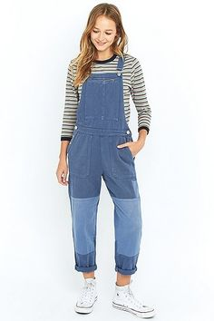 BDG French Patchwork Blue Dungarees