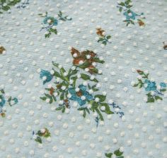 1970s Vintage Fabric  DOTTED SWISS  Brown and Blue by SelvedgeShop, $12.00