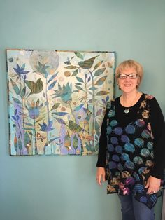 Sue Davis with her new 36x36 acrylic painting.
