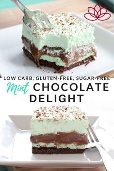 Low Carb Mint Chocolate Delight with layers like dessert lasagna. This rich and creamy decadent dessert is gluten-free, sugar-free, low ca. Sugar Free Desserts, Sugar Free Recipes, Low Carb Desserts, Healthy Desserts, Diabetic Desserts Sugar Free Low Carb, Desserts For Diabetics, Sugar Free Baking, Healthy Breakfasts, Chocolate Delight
