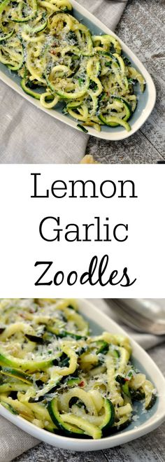 One pan Lemon Garlic Zoodles is a healthy and delicious dinner! It takes less than 15 minutes to make, and tastes amazing! You will have a quick and easy dinner that is packed full of flavor, but low on carbs and fat! Pastas Recipes, Spiralizer Recipes, Diet Recipes, Vegetarian Recipes, Cooking Recipes, Healthy Recipes, Vegan Zoodle Recipes, Shrimp Recipes, Clean Eating Vegetarian