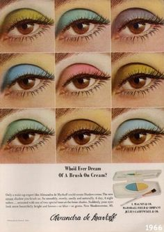Vintage Makeup Vintage beauty ad campaign for stunning eye colors from Alxandra de Markoff 1960s Makeup, Vintage Makeup Ads, Retro Makeup, Vintage Beauty, Twiggy Makeup, Vintage Makeup Looks, Vintage Perfume, Eye Makeup, Hair Makeup