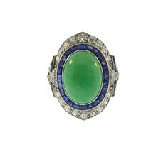 Retro Jade Sapphire and Diamond Ring