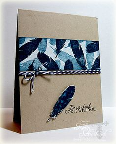 handmade card: Nature Silhouettes 2 by Sweet 'n Sassy Stamps ... kraft ...  wide band of feathers stamped in blue and black ...   backer's twine  ... like the what the colors overlap on the card ..