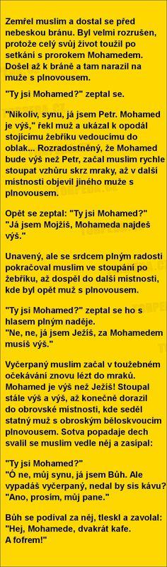 Zemřel muslim a dostal se před nebeskou bránu...