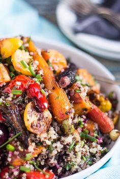 Roasted Vegetable and Quinoa Salad is easy to make in advance, and highly portable and is perfect for picnics and potlucks. Great as a vegetarian main dish.