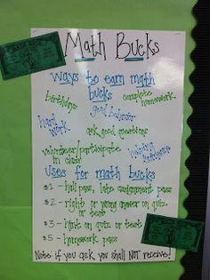 Math notebooks, math stations, and math bucks