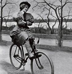 A woman on bike, circa 1890s