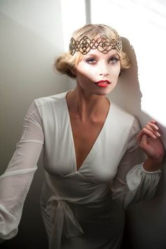 Beautiful.  20's inspired? Hermione Harbutt Red Carpet Collection - luxury headpieces and accessories