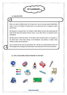 This reading comprehension focuses on the school vocabulary (stationary and places in the school)There is a short text followed by 3 exercises: vocabulary, comprehension questions and guided writing.